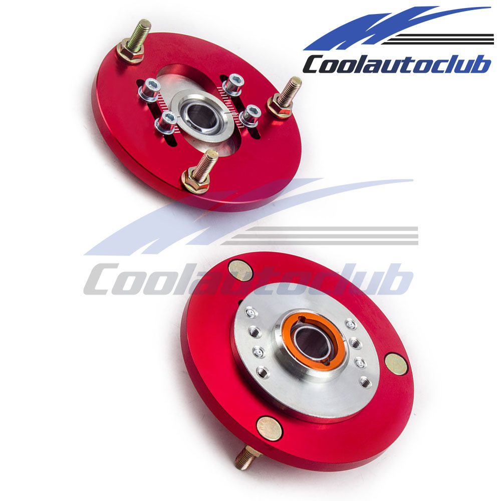Front pair coilover camber plates top mounts for bmw e36 3 series red ebay
