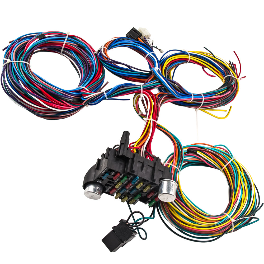 Universal 21 Circuit Wiring Kit Harness Street Hot Rod Lighter 17 For Fuses