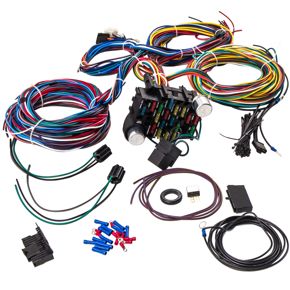 Wiring Harness 21 Circuit Street Hot rod Universal Wire Kit GM color on gm wiring alternator, gm alternator harness, obd2 to obd1 jumper harness, gm wiring connectors, gm wiring gauge, radio harness,